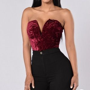 Burgundy body suit